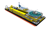 The Damen Pipe Laying Barge can lay pipes up to 28 inches in diameter in shallow water between 1.5 and 4 metres deep.