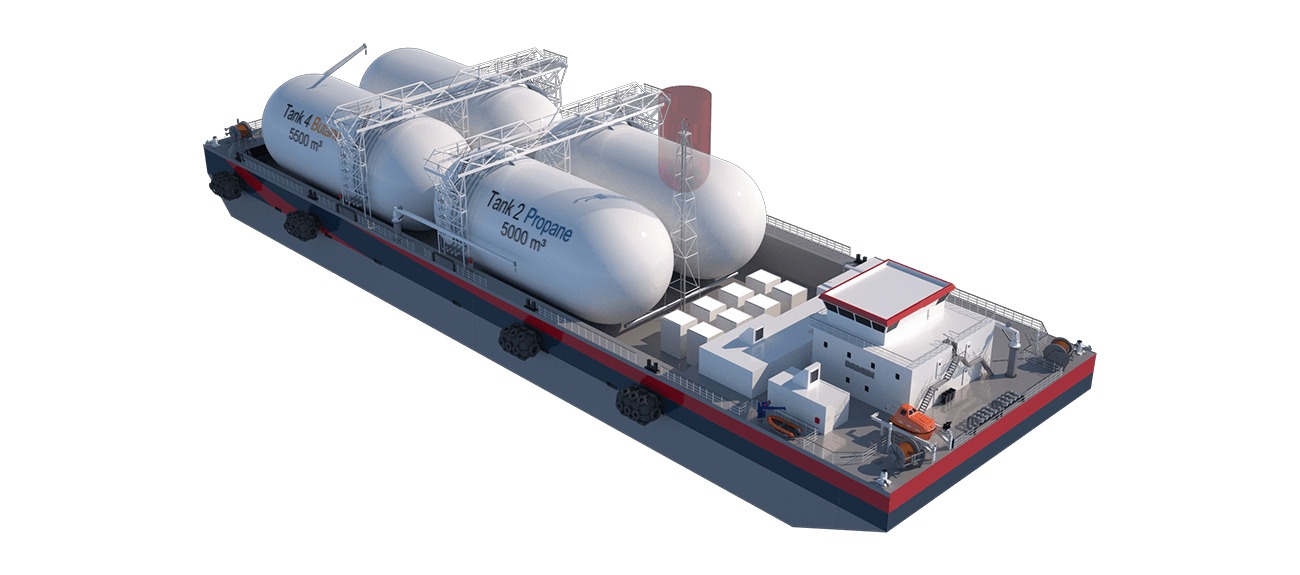 The small scale Floating Regassification can be utilized for a wide range of bulk liquids: from LNG to LPG