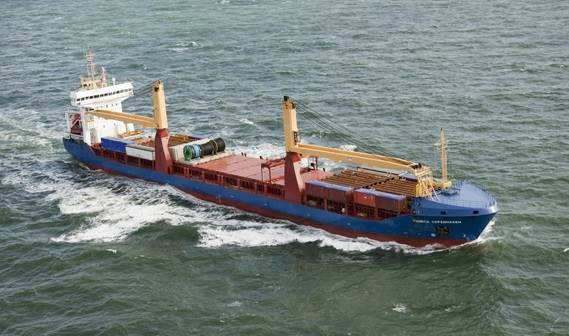 This ship is an ice-classed, multi-purpose cargo vessel equipped with two, 80 tonne deck cranes
