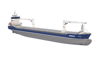 The modern hull lines show in the bow area which features a bulbous bow designed for extra fuel economy