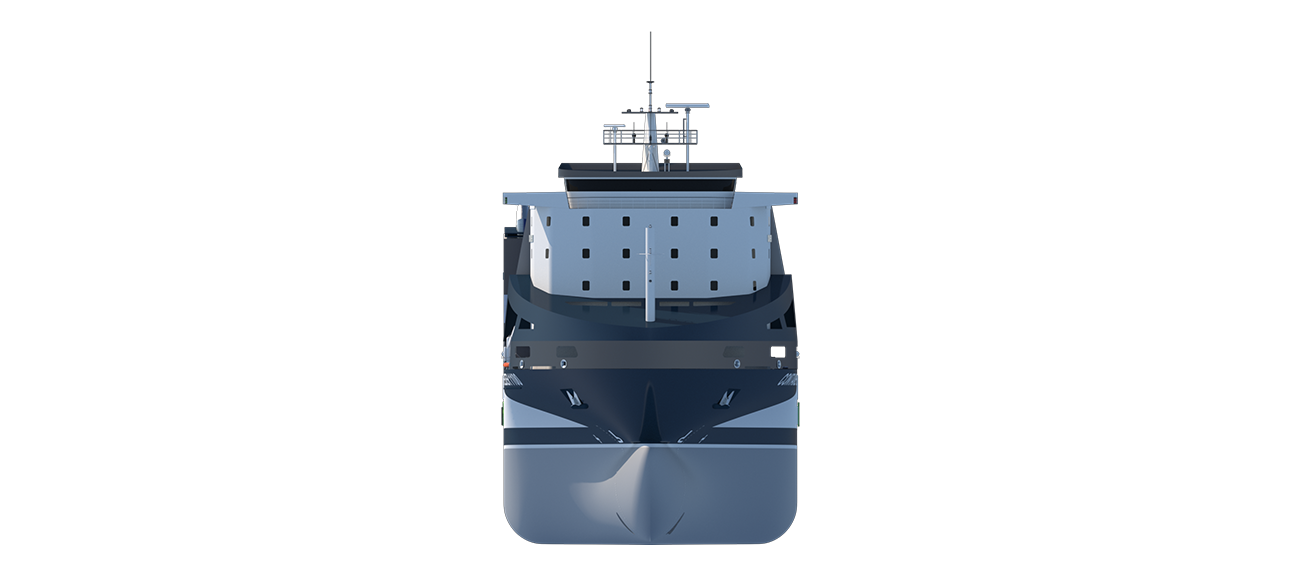 The Container Feeder 1100 Open Top is characterized by the absence of hatch covers