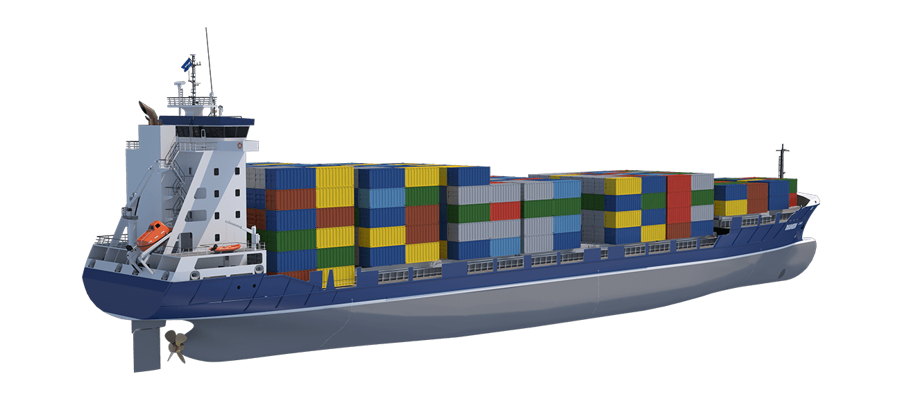 The Damen Container Feeder has the flexibility to handle many different container sizes, including high cubes