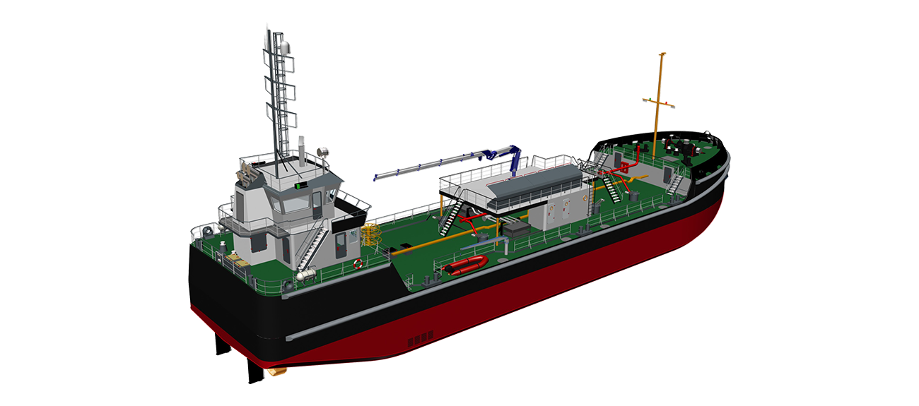The tanker is fitted with double blade high performance rudders.