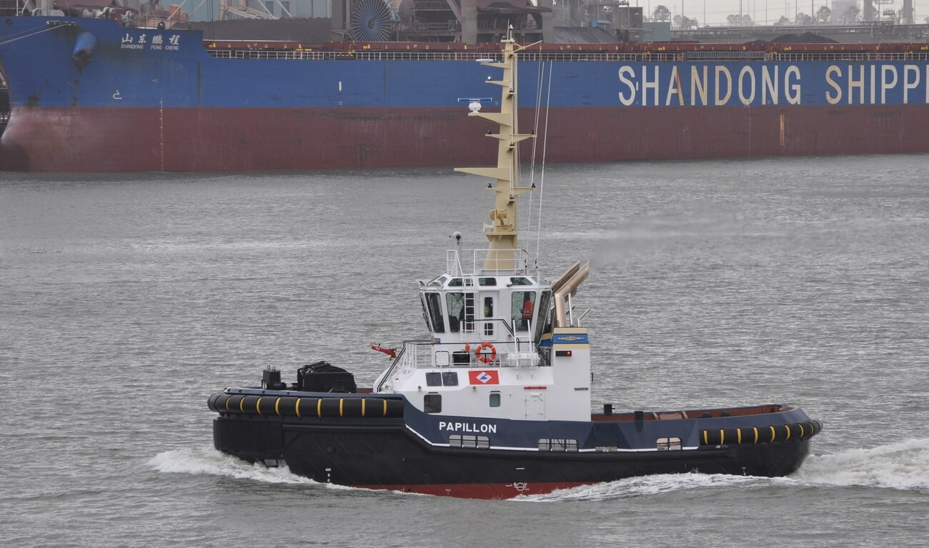 On 9th January, Damen Shipyards Hardinxveld delivered an ASD Tug 2310 SD (shallow draught), named Papillon, to De Boer Remorquage SARL, a subsidiary company of Dutch Dredging (Baggerbedrijf De Boer) and Iskes Towage & Salvage.