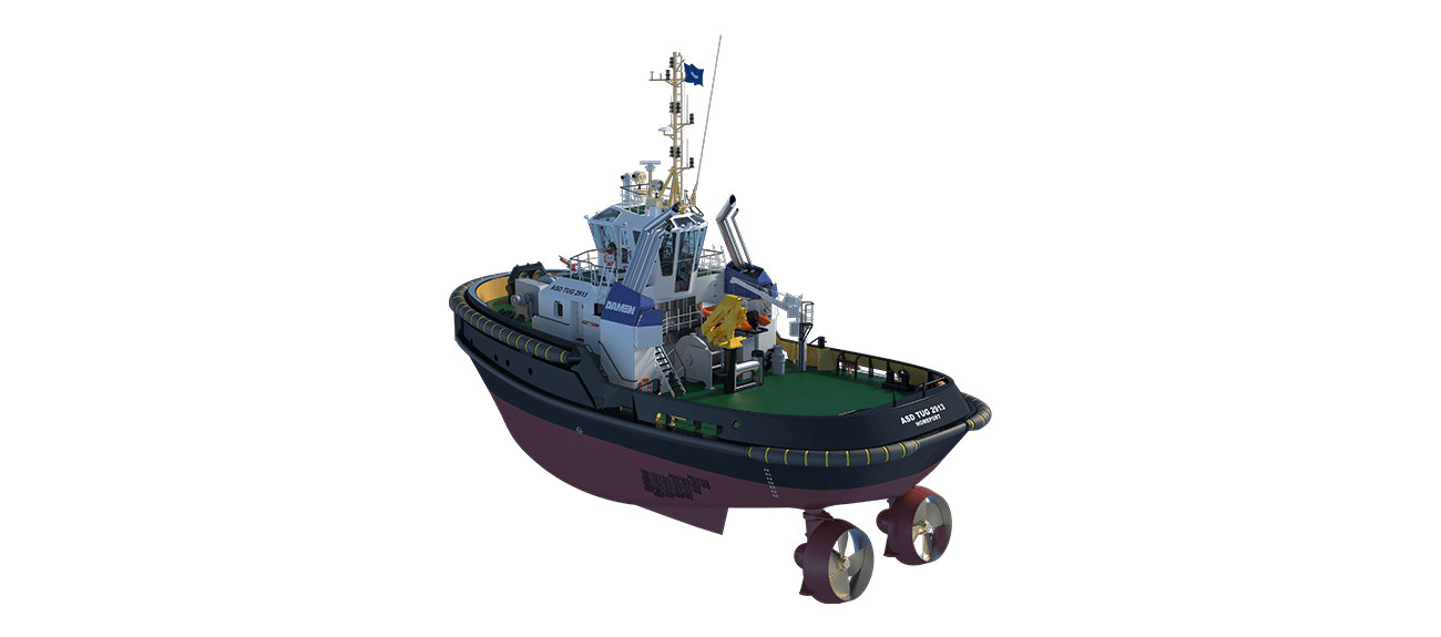 Damen Stern Drive Tugboat 2913 has a rigid foundations, extra plate thickness, extra brackets and extra fendering with total power 5050 BKW.