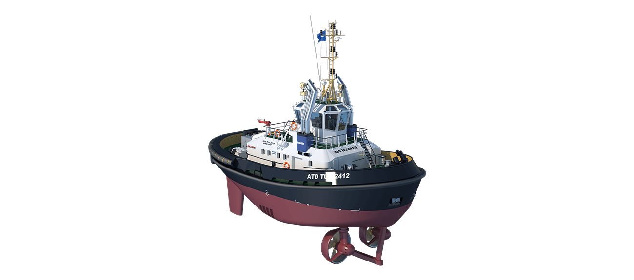 ATD Tugboat 2412 Twin Fin for harbours, locks and coastal areas.
