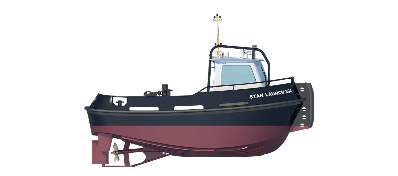 Stan Launch 804 is a heavily built vessel with rigid foundations, extra plate thickness, extra brackets and extra fendering