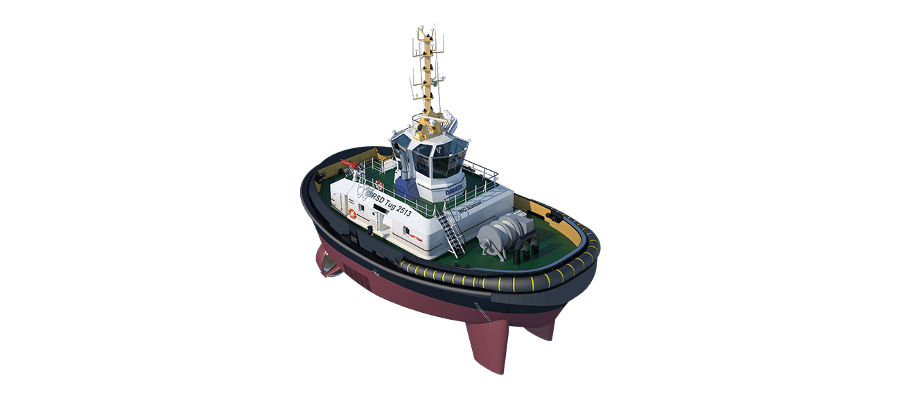 Damen RSD Tug 2513 has excellent seakeeping behaviour, superb manoeuvrability and outstanding towing characteristics