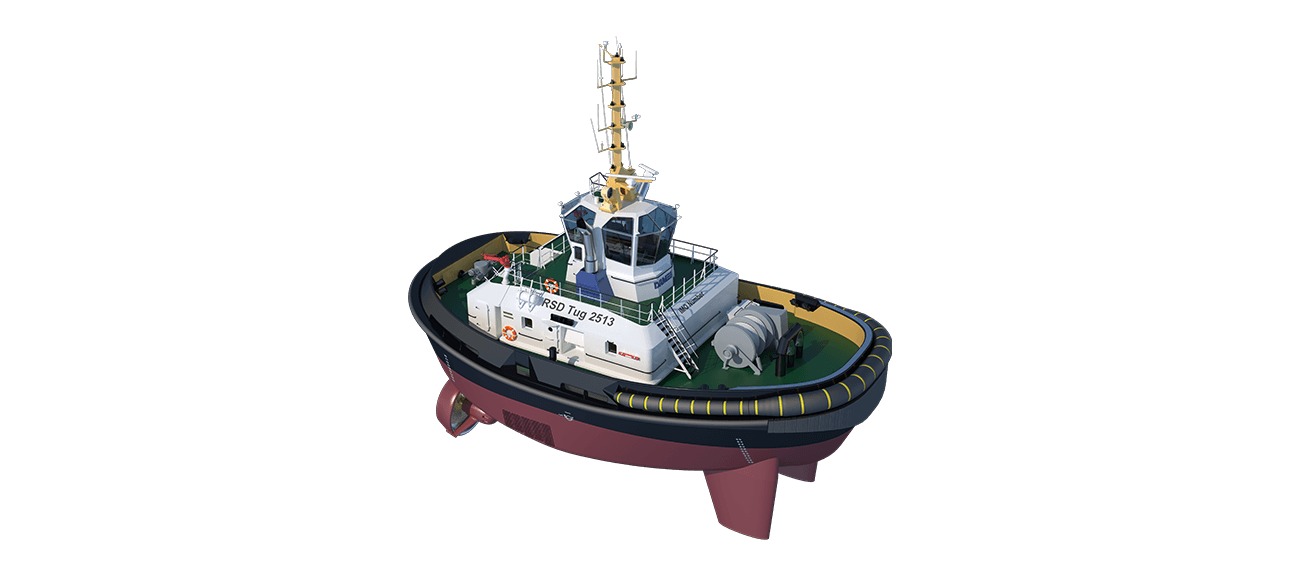 Damen RSD Tug 2513 is a heavily built vessel with rigid foundations, extra plate thickness, extra brackets and extra fendering