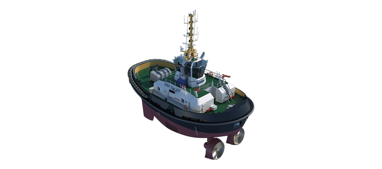 RSD Tugs are designed for push-pull, harbour assisting and escort towing operations as well as fire fighting, salvage, oil polution, hose handling and anchor handling operations