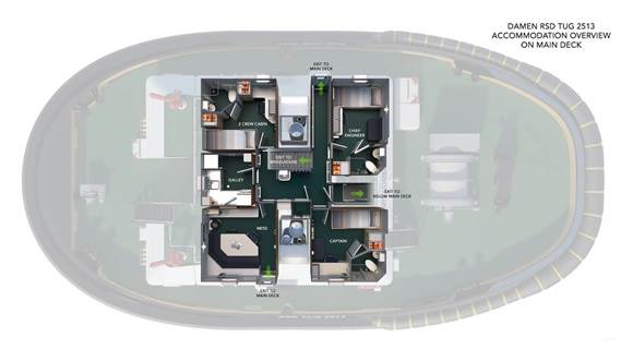 RSD Tug 2513 - accommodation overview main deck