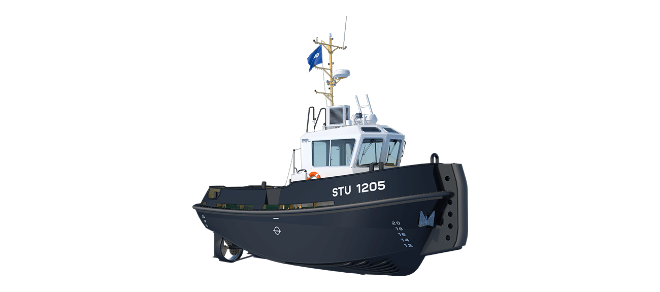 Damen Stan Tug 1205 is a heavily built vessel with rigid foundations, extra plate thickness, extra brackets and extra fendering