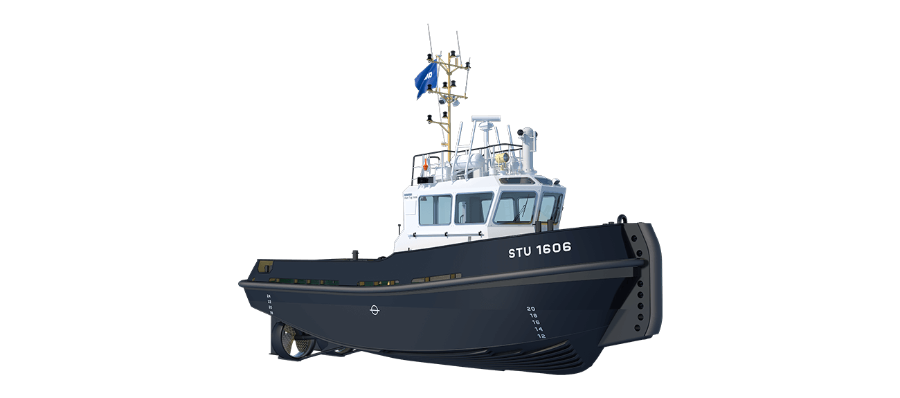 Damen Stan Tug 1606 is a heavily built vessel with rigid foundations, extra plate thickness, extra brackets and extra fendering