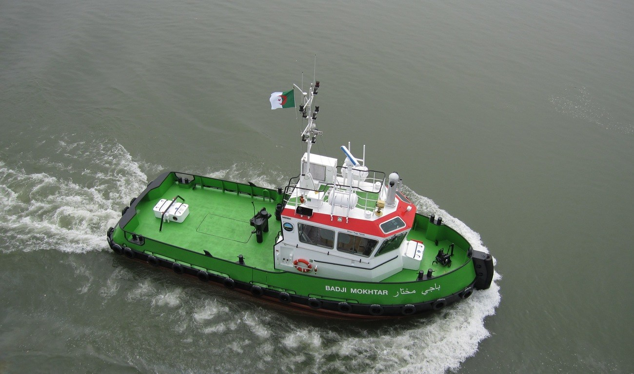 Meditram, a specialist in harbour construction based in Algeria, has taken delivery of a Damen Stan 1606 Tug, the 'Badji Mokhtar'.