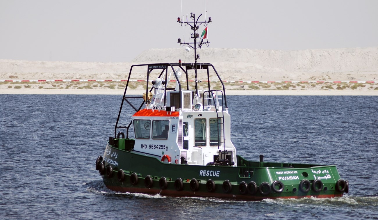 Built at Albwardy Marine Engineering, the last two Damen Stan 1606 Tugs out of a series of four were handed over in June 2010 to the Port of Fujairah.