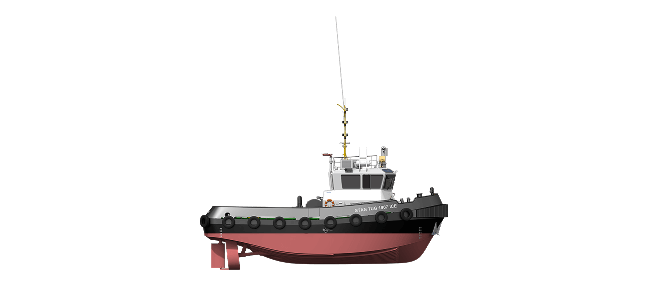 Damen Stan Tug 1907 ICE Class is a heavily built vessel with rigid foundations, extra plate thickness, extra brackets and extra fendering