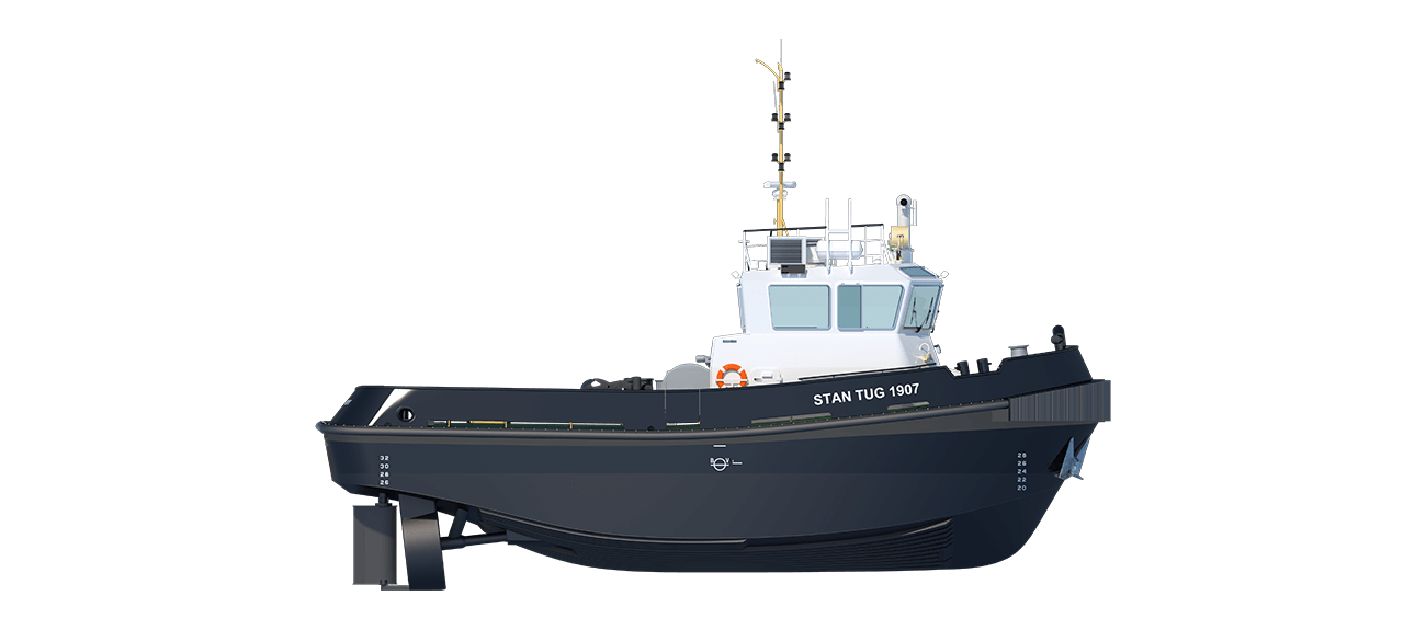 Damen Stan Tug 1907 is a heavily built vessel with rigid foundations, extra plate thickness, extra brackets and extra fendering