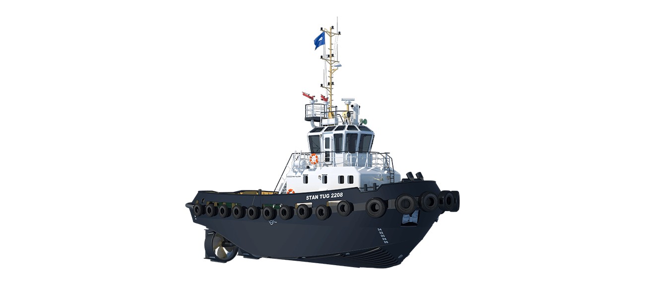 Damen Stan Tug 2208 is a heavily built vessel with rigid foundations, extra plate thickness, extra brackets and extra fendering