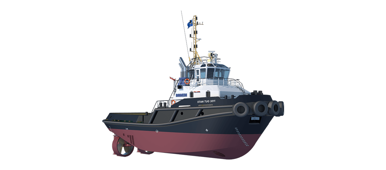 Damen Stan Tug 3011 is a heavily built vessel with rigid foundations, extra plate thickness, extra brackets and extra fendering