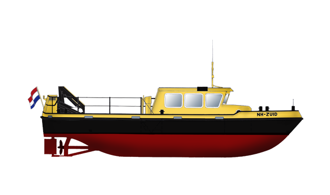 Inspection vessel for surveying, buoy-laying, anchor handling and garbage collection on inland waters.