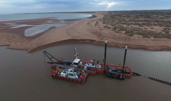 Multi Cat 1506 'Beadon Creek' with CSD 500 'Pilbara Sawfish' working on a project