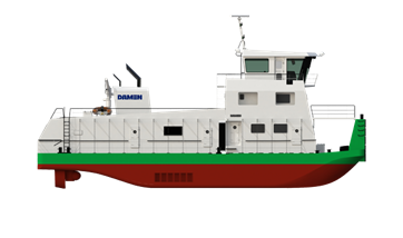 The ASD Pusher 2811 is a powerful push boat designed for medium range inland operations