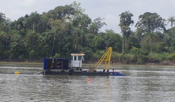 DOP Dredger 200 at work on a river in Nigeria