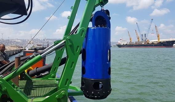 The DOP200 on a dedicated A frame turn a utility vessel into a dredger