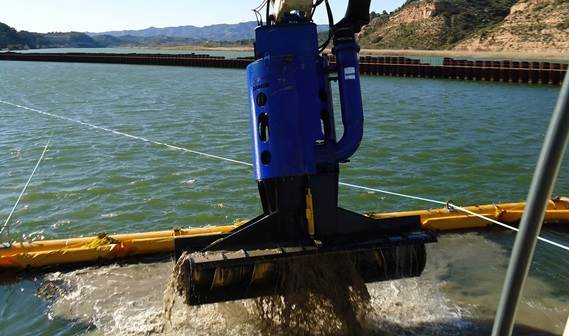 The auger unit is the ideal tool for accurate dredging with low turbidity