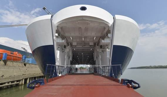 RoPax Ferry bow door and ramp