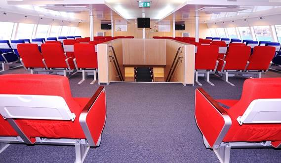 "12""/32"" TV screens and DVD players for onboard entertainment."