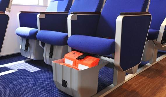 Life jackets in boxes under the seats.