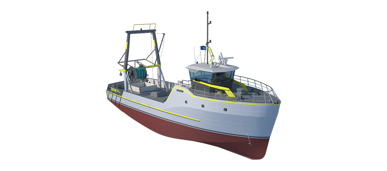 Damen Sea Fisher 2608 - Stern Trawler perspective front SB