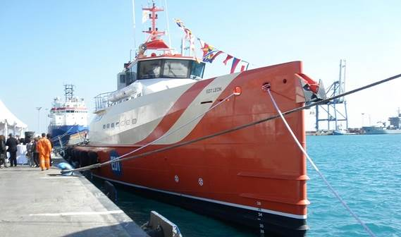 A celebration of the delivery of 'EDT Leon', a Fast Crew Supplier 5009, to EDT Offshore took place in Limassol