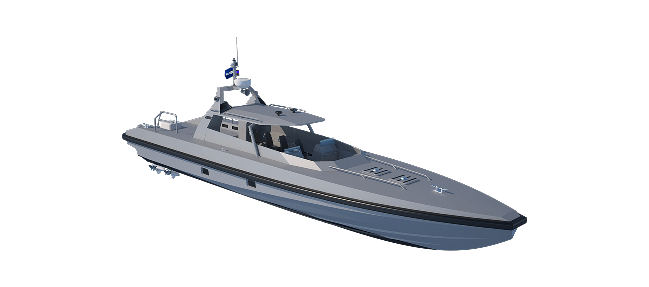 Speeds of 50 to 60 knots are achieved through the combination of raw power, low weight and efficient hull form