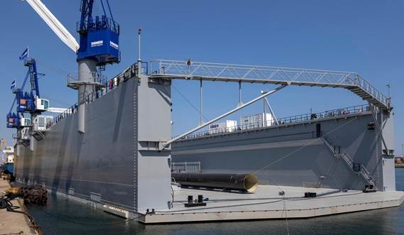 The catwalk enables drydock personnel to cross over to the other side wall when the drydock is submerged.