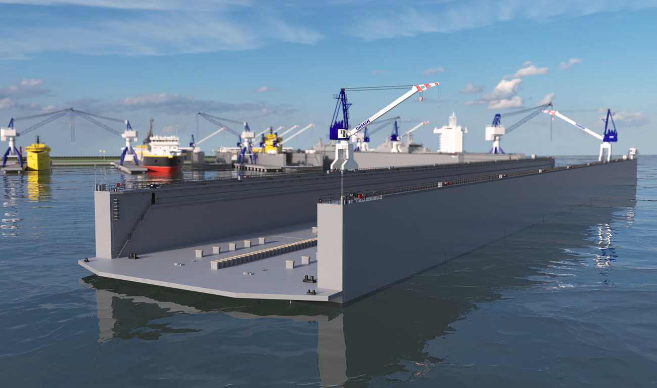 Modular Floating Drydock 31036 for vessels up to 28,000 t and up to 100 tonnes per metre keel load