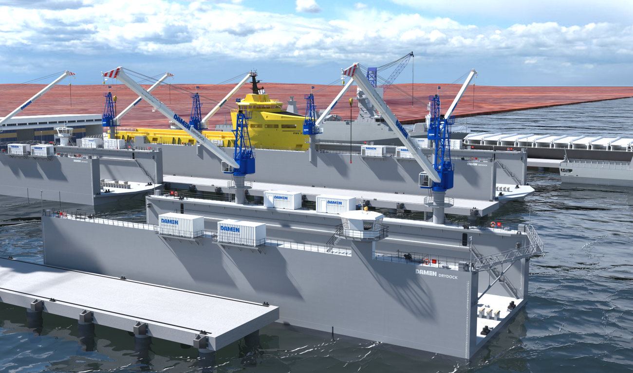 Modular Floating Drydock 7020 for vessels up to 2,250 t and up to 50 tonnes per metre keel load