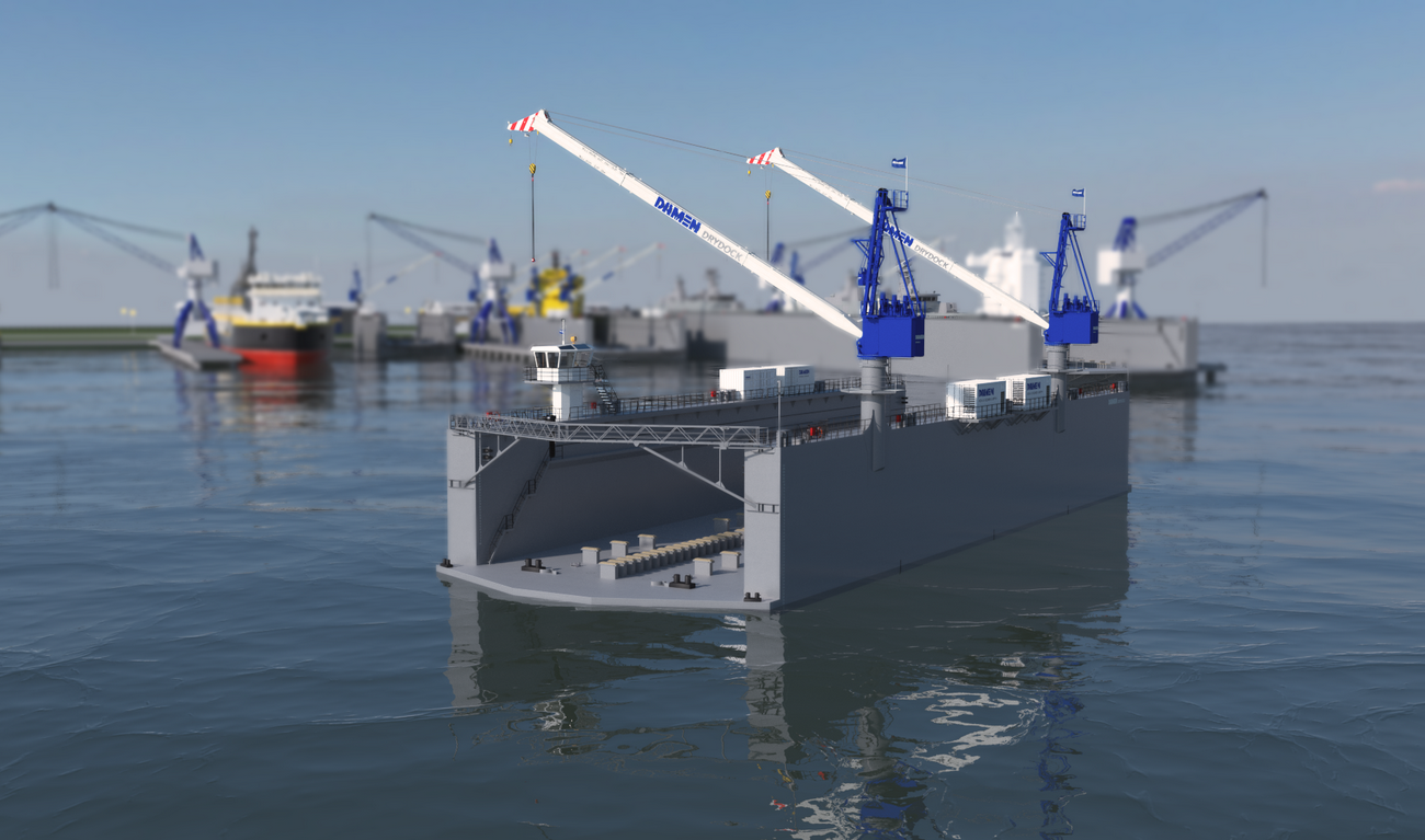 Modular Floating Drydock 8020 for vessels up to 2,500 t and up to 50 tonnes per metre keel load