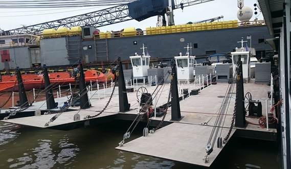 The Damen Modular Multi Cat is provided with a large working deck area