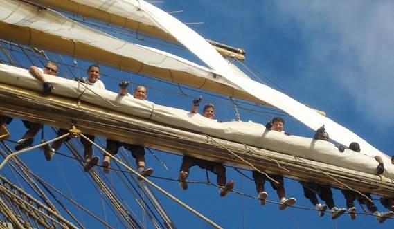Sail Training Vessel 2630 'Cisne Branco' with crew working aloft