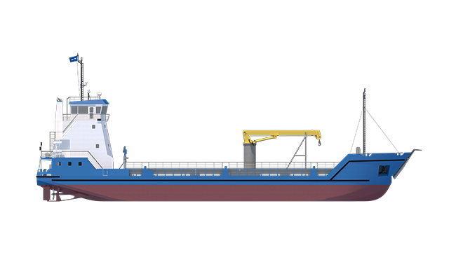 Highly versatile logistic support vessel capable of carrying rolling cargo, bulk, containers or fluids.
