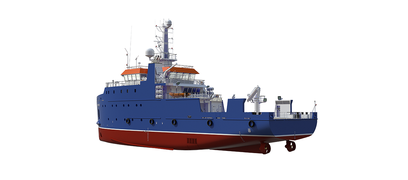 The Diesel Electric propulsion system provides a high degree of redundancy and an optimal use of the available space below deck.