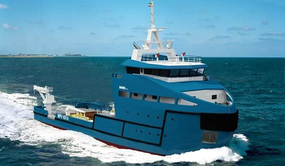 The vessel is derived from the PSV 1600 design and includes all the standard features of the Offshore Series.