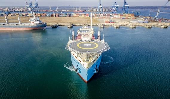 DP2 cable installation vessel Maersk Connector was handed over from Damen Shipyards Group to Maersk Supply Service