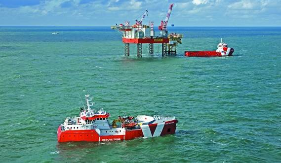 Rescue ship is built for emergency response and rescue duties near offshore platforms.