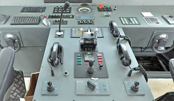 Modern ergonomically designed wheelhouse console.