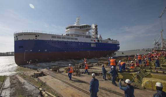 the first of Damen's purpose-built Service Operations Vessels (SOV) with Walk-to-Work (W2W) capability, was officially launched