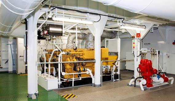 The Damen Transshipment Barge's engine room is equipped with a Van der Leun electrical installation and Caterpillar generator sets.