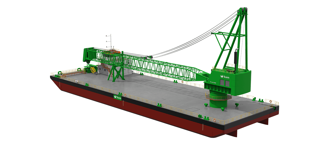 The large working deck is optimized by placing winches below deck and have a spacious 1600 m2 working deck with 10 ton/m2 allowable deck load.